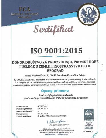 Donor ISO 9001:2015